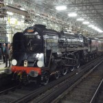 Power on the Orient Express: Class 8P Pacific Duke of Gloucester rests in London's Victoria station after hauling the Orient Express to Bristol and back on 27 October 2010. The modern Class 67 diesel was coupled behind to generate power for the Pullman carriages